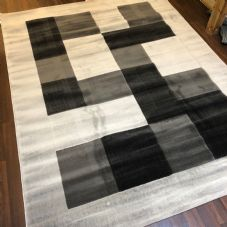 NEW MODERN BLOCK DESIGN RUGS SILVER 220X270CM 9X7FT APPROX LUXURY QUALITY MATS